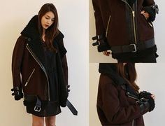 Acne Studios dark brown Velocite oversized shearling biker jacket
