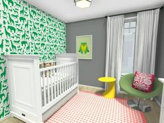 Are you a interior designer or home staging specialist? Tour our virtual Spring Trends Showhouse: http://applet.roomsketcher.com/widget/?ctxt=fb_com&w=home360&gid=11859294  Create your own with RoomSketcher Pro to show potential clients what your can do: http://www.roomsketcher.com/interiordesign/   3D floor plan for a nursery with custom wall color, wallpaper & decor from IKEA, Crate and Barrel & Pottery Barn Kids, designed in RoomSketcher Pro.   #floorplan #nursery #decor  #interiordesign
