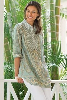 Tabitha Tunic from Soft Surroundings - Paisleys and flowers print on lightweight cotton voile tunic detailed with pintucks, partial button closure, long button-cuff sleeves, back inset and shirttail hem.
