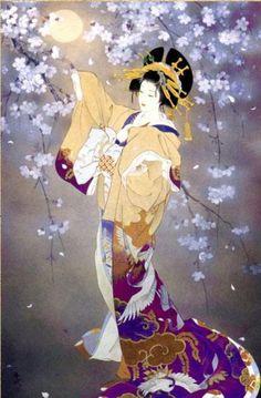 Japanese Woman Tree Blossoms | Tattoo Ideas Inspiration - Japanese Art | Haruyo Morita | #Japanese #Art
