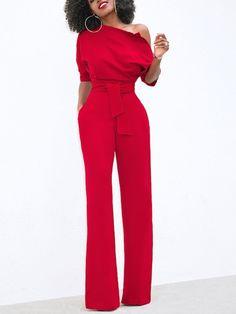 288ad1752f Solid One Shoulder Tied Waist Flared Jumpsuit Combinaison, Combinaison Avec  Manches, Tenue Monochrome,