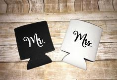 Mr & Mrs can coolers - Mr and Mrs can coolie - bride and groom gift - wedding can hugger - his and hers - bride to be gift - bridal shower g by LakesideDesigns1 on Etsy
