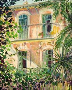 """peinture française : Pierre Bonnard, """"Le Cannet"""", maison, persiennes, Riviéra"""