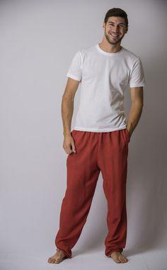 Solid Color Drawstring Men's Yoga Massage Pants in Red – Harem Pants