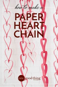 These paper heart chains are fun and easy to make, and they're a cute way to add a bit of festive Valentine's charm to your home! day decor classroom paper chains How To Make Easy Paper Heart Chains For Valentine's Day Valentine Day Special, Valentines Day Party, Valentine Day Crafts, Be My Valentine, Holiday Crafts, Holiday Ideas, Valentine Ideas, Funny Valentine, Decoration Restaurant