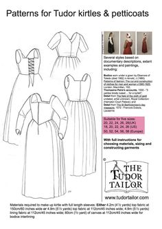 Pattern for Womens Tudor Kirtles and Petticoats - Large Sizes. £20.50, via Etsy.