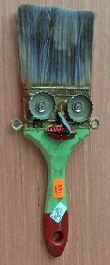 Traditional & Outsider Folk Art by 40 top folk artists, Mary Proctor, Minnie Adkins, George Borum, Richard Roebuck and Recycled Art Projects, Metal Projects, Metal Crafts, Wood Crafts, Metal Yard Art, Scrap Metal Art, Paint Brush Art, Paint Brushes, Found Object Art