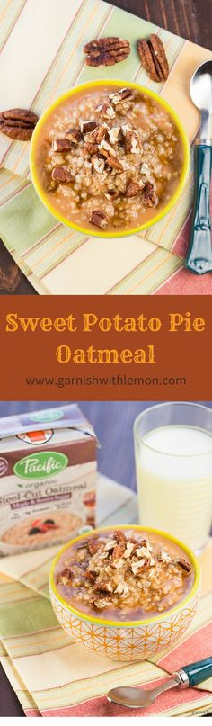 Turn your breakfast from ordinary to extraordinary with this quick and easy Sweet Potato Pie Oatmeal! ~ http://www.garnishwithlemon.com