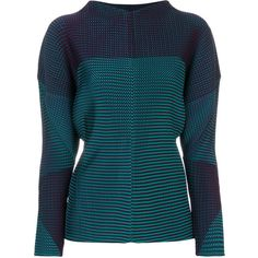 Issey Miyake relaxed fit pleated sweatshirt (£915) ❤ liked on Polyvore featuring tops, hoodies, sweatshirts, pleated top, relaxed fit tops, blue sweatshirt, blue top and issey miyake