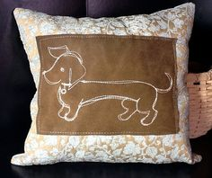 OOAK limited Dachshund Wiener Dog Throw Pillow by stitcherygiftery, $24.00