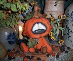 "Primitive Halloween Pumpkin Teddy Bear 8"" Autumn Doll Vtg Patti's Ratties OOAK"