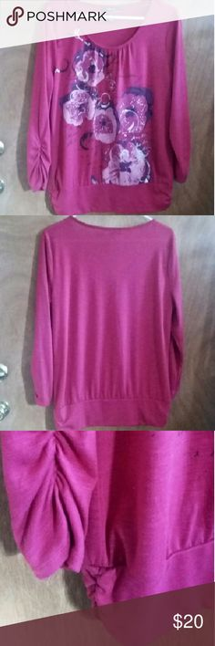 Style & Co floral top sz L w/bling Beautiful dark fuschia Style & Co floral top size large top with bling. 3/4 sleeves. Banded at the waist. Worn maybe twice. Style & Co Tops