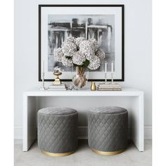TOV Furniture Modern Abir Grey Velvet Ottoman - The Abir features elegant diamond tufting in sumptuous grey or light blue velvet and sits atop a glam brushed gold base. Place the Abir anywher Cool Furniture, Living Room Furniture, Modern Furniture, Living Room Decor, Rustic Furniture, Furniture Stores, Antique Furniture, Furniture Outlet, Velvet Furniture