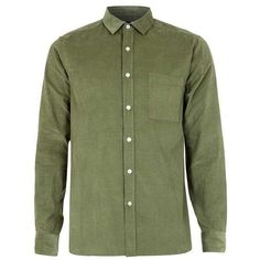 Khaki Cord Long Sleeve Casual Shirt (15770 RSD) ❤ liked on Polyvore featuring tops, green top, long sleeve tops and khaki top