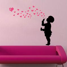Boy blow heart love bubbles