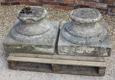 A Pair of Hand Carved Solid Portland Stone Garden Plinths. Wow!!! these plinths have a really fantastic patina and have many uses within the garden. They would make ideal gate finials or a place to show of your favourite statue.