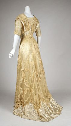 Edwardian cotton, linen and silk ball gown [American], c. 1908 {back view}
