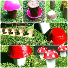 How to make papier mâché toadstools for children's garden party