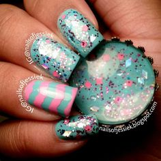 """China Glaze """"Aquadelic"""" and Polish Addict """"Diamonds Are Forever"""" polishes sent to me by @jpnailart! That stupid accent finger was being evil and took me a few tries. Haha. It has Sally Hansen Xtreme Wear """"Bubble Gum Pink"""".  @nailsofjessiek"""