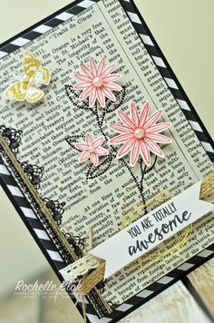 by Rochelle: Grateful Bunch, Typeset dsp, Blossom Bunch Punch, Venetian Crochet Trim, & more - all from Stampin' Up!