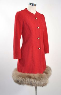 Vintage 1950s LILLI ANN Paris Cherry Red Silver fox