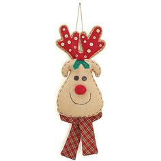 """Plush+Reindeer+Wall+Hanging+Burlap+reindeer+head+wall+hanging+with+plaid+scarf+and+buttons+on+antlers.+Jute+hanger.24""""H+X+8+1/2""""W+X+3+1/2""""D.+28""""+Tall+with+hanger.++Image+courtesy+of+Burton+"""