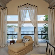 Window treatments serve both functional and decorative purposes for any room in your house. They add privacy, insulation, texture, color, pattern and even help absorb sound outside. Window treatments also talk in home decorating. House Design, Traditional Bedroom, Home, Bedroom Design, Dreamy Bedrooms, Interior Design, Window Treatments Bedroom, Bedroom, Bedroom Windows