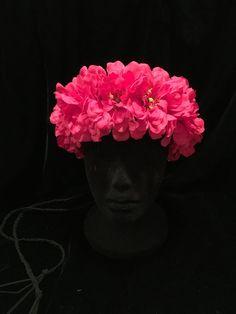 60's 70's Hippie Hot Pink Zinnia Flower by EmpireCoutureCostume