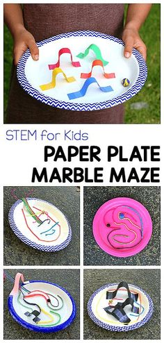 STEM CHALLENGE FOR KIDS: Design a paper plate marble maze using paper strips or even wiki stix! A fun fine motor and design activity for preschool, kindergarten, first grade and on up! #stem #finemotor #paperplatecraft #preschool