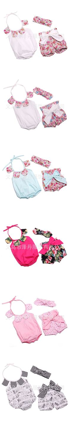 Wholesale NEW EMS DHL Free baby girls 3pc Petals Neck Suit Romper + Pants+ Headband Baby Clothing Infant Wear