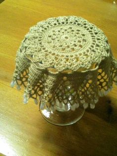 Beaded Jar Cover by Sachiko Nomoto   Crochet, to keep flies & bees off jam or drinks; or larger to do the same for a pitcher