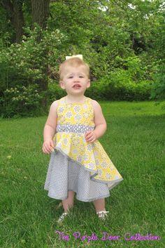 "The Tilt & Twirl Dress, a PDF sewing pattern by Mandy K Designs Size 12m to 12, plus 18"" doll"
