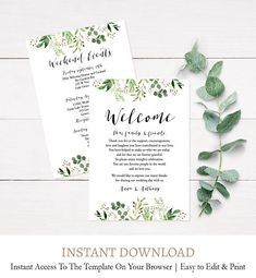 Greenery Wedding Welcome Template, Editable Wedding Itinerary Template, Greenery Wreath Welcome Template, Editable, Instant Download L4