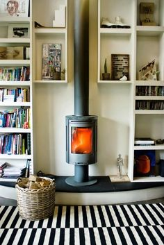 13 Wood Stove Decor Ideas for Your Home via Brit + Co.