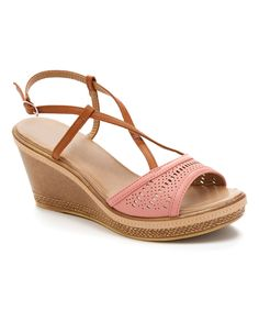 Coral & Tan Wedge Sandal by Carrini #zulily #zulilyfinds