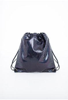 Missguided - Fizz Hologram Croc Effect Drawstring Backpack Black