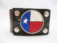 Texas  Bracelet Hand Carved Leather Bracelet by Treeleafleather