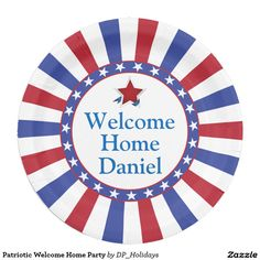 Patriotic Welcome Home Party Paper Plate - A patriotic design featuring red white and blue sunburst stripes with a circle of stars. Personalize with your information by replacing the sample text shown in the design template. There are many uses for this party plate including welcome home parties for military members, family reunions, 4th of July parties, birthdays, and more. Sold at DP_Hoidays on Zazzle. #Zazzle #supportourtroops