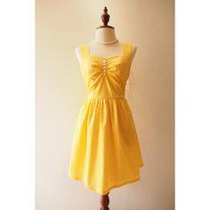 Fairy Wing Yellow Vintage Sundress Back Bow Backless Dress Polka Dot... ($53) ❤ liked on Polyvore featuring dresses, retro vintage dresses, vintage dresses, backless cocktail dresses, vintage party dresses and yellow bridesmaid dresses