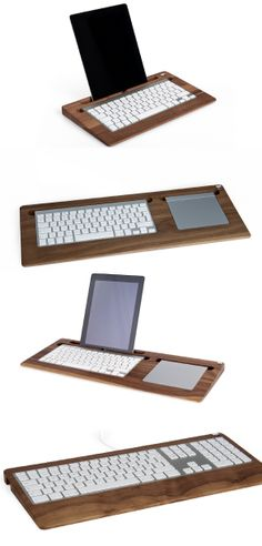 All Trays manufactured by Woody's reflect a simple, yet perfect combination between good design, technical equipment and high quality natural materials. Through embedding Apple's precision aluminum peripheral input devices into a tray made out of high quality woods, our products provide a clean setup and look good on both your desk and couch.