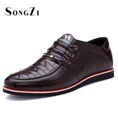 Mens Genuine Leather Checkered Oxford Office Shoes