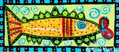 Tuscaloosa Inspirational Original Art & Painted Furniture for Sale Painted Rug, Painted Furniture, Painted Fish, Painted Chairs, Folk Art Fish, Fish Art, 3d Canvas Art, Pineapple Painting, Bright Colors Art