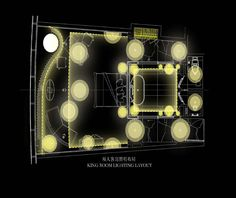 King guestroom lighting layout for Four Seasons Hotel Guangzhou, designed by HBA/Hirsch Bedner Associates.