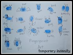 We experimented with different ways to make fingerprints - lots of pressure, roll the finger, use the pinky for little creatures, etc. and enjoyed making our own designs. Description from jfrogster.blogspot.com. I searched for this on bing.com/images
