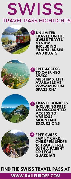 The #Swiss Travel Pass includes travel on trains, buses, and boats in Switzerland.... & entry into over 480 museums! Awesome way to make the most of your trip to Switzerland: https://www2.raileurope.com/rail-tickets-passes/swiss-pass/index.html