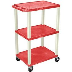 H. Wilson Tuffy 3-Shelf A/V Cart with Electric, Red Shelves and Putty Legs