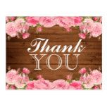 Rustic Pink Peonies | Thank You Postcard