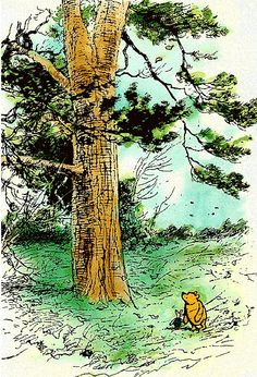 Pooh and Piglet walk past a huge tree by E.H. Shepard.