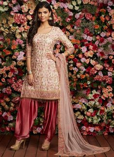 Rose Pink Sequins Embroidered Punjabi Suit features a net kameez with santoon inner, satin bottom and net dupatta. Embroidery work is completed with thread, sequins, zari, and handwork embellishments on this style. Indian Suits Punjabi, Latest Punjabi Suits, Punjabi Salwar Suits, Punjabi Dress, Pakistani Dresses, Indian Wear, Indian Style, Punjabi Girls, Salwar Suits Online