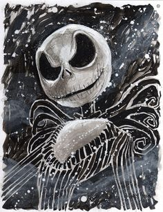 Jack Skellington - by Gary Shipman~~~I am trying to convince ONE of my coworkers to paint their mini pumpkin as Jack Skellington for our office's mini pumpkin contest. It would be sooooo stinking cute with black & white stripes going down all the way around & then his face on one side!!